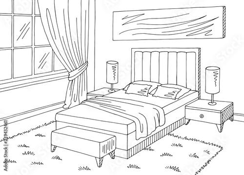 Bedroom Graphic Black White Home Interior Sketch Illustration Vector