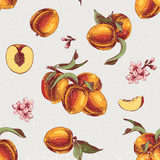 Seamless pattern with hand drawn peach branches, flowers and slices - 239449814