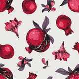 Seamless pattern with hand drawn pomegranates - 239451271