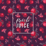 Seamless pattern with pomegranates on dark background and type design - 239451627
