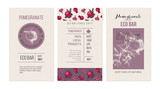 Eco bar banners template with hand drawn pomegranates - 239451679