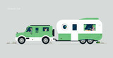 Traveling family by caravan car with gray background.