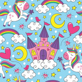 seamless pattern with unicorn and castle  - vector illustration, eps
