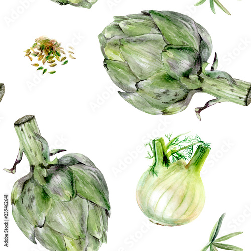 Watercolor artichoke fennel vegetable isolated seamless pattern. © diidik
