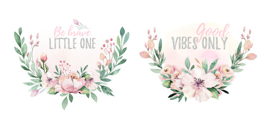 Hand drawn watercolor wreath illustration. Isolated Botanical wreathes of green branches and flower leaves. Spring and summer mood. Wedding blossom Floral Design elements. © kris_art