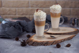 Coffee in a glass with whipped cream