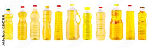 Set of Bottles of sunflower oil isolated on white