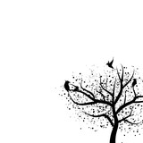 Tree and birds silhouette with scatter dot spots isolated on white abstract background nature concept vector illustration