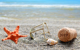 Cork stopper of champagne with number 2019 and seashell with starfish on sand beach. Happy New Year concept. - 239484426