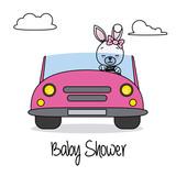 Rabbit girl in pink car. Baby shower card