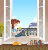 Young woman reading book in the window. Drinking tea and reading in the city. - 239498289