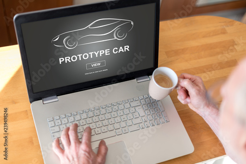 Prototype car concept on a laptop - 239498246