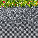 Christmas tree branches and snowfall on transparent background vector