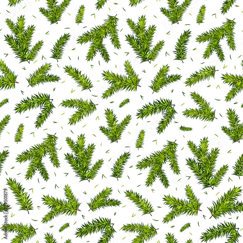obraz lub plakat Christmas tree branches seamless pattern background. Vector illustration