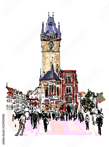Prague Clock Tower Sketch Drawing Czech Republic Buy Photos Ap