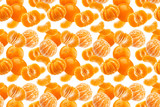 Mandarine seamless pattern, tangerine, clementine isolated on white background