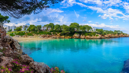 Beautiful panorama of Cala Dor beach and Cala d'Or city, Palma Mallorca Island, Spain © cristianbalate