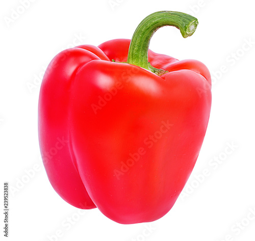 Fresh sweet pepper red bell isolated on white background with clipping path