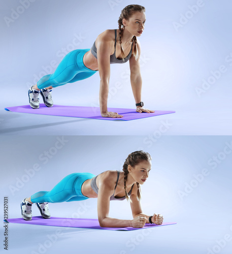 Sport. Young athletic woman doing plank. Muscular and strong girl exercising. Crossfit and fitness exercising.