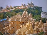 Some of the intricately carved marble shrines making up the temple complex at Palitana, India, a sacred site in the Jain religion that attracts pilgrims from across the world - 239537428