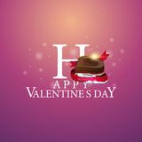 Happy Valentine's Day - logo with candy in the form of a heart