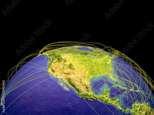 Map Of North America After Planet X.North America On Planet Earth With Country Borders And Trajectories