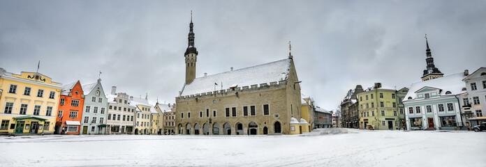 Cityscape with Town Hall in Raekoja square at winter dusk. Tallinn, Estonia