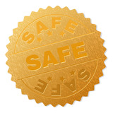 SAFE gold stamp award. Vector golden medal with SAFE text. Text labels are placed between parallel lines and on circle. Golden surface has metallic structure.