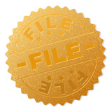 FILE gold stamp badge. Vector gold medal with FILE text. Text labels are placed between parallel lines and on circle. Golden area has metallic texture.