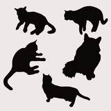 Silhouettes of cats in different poses vector illustration number two