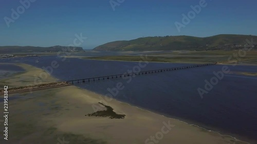 Drone aerial of Knysna and its lagoon along the garden route in the Western Cape, South Africa