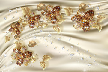 3D wallpaper, gold jewelry flowers on silk background. Celebration 3d background