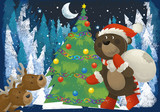 winter scene with forest animals reindeers and santa claus bear near christmas tree - traditional scene - illustration for children