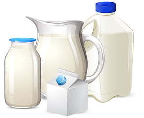 Set of milk on different container © blueringmedia
