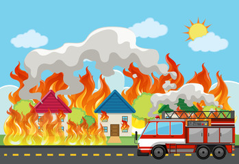 Emergency house fire background © blueringmedia