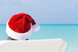 Christmas time on beach, travel greeting card