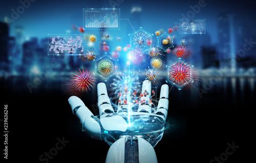Leinwanddruck Bild Cyborg creating and analyzing nanovirus 3D rendering