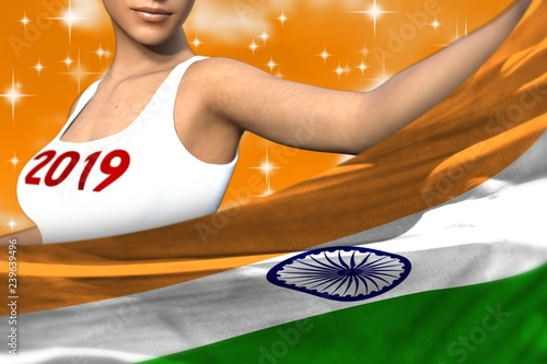 Leinwanddruck Bild beautiful woman holds India flag in front on the orange colorful clouds - Christmas and 2019 New Year flag concept 3d illustration