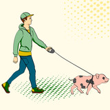 Pop art man walking a mini pig. Raster of an imitation comic style, retro.