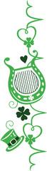 St Patrick Day Design. Herschlag Frequenz mit Hut, Harfe, Klee und Herzen. Irish Day. © christine krahl