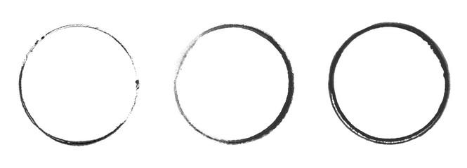 Drei schwarze handgemalte Kreise © kebox