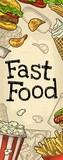 Restaurant or cafe menu Fast Food. Vintage color vector engraving