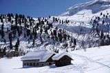 dolomites snow panorama big landscape hut covered by snow