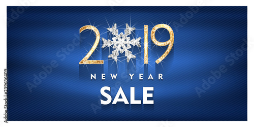 2019, Happy new year sale, Gold and diamond Design of greeting card. Gold Shining Pattern. Happy New Year Banner with 2019 Numbers on Bright Background. Vector illustration