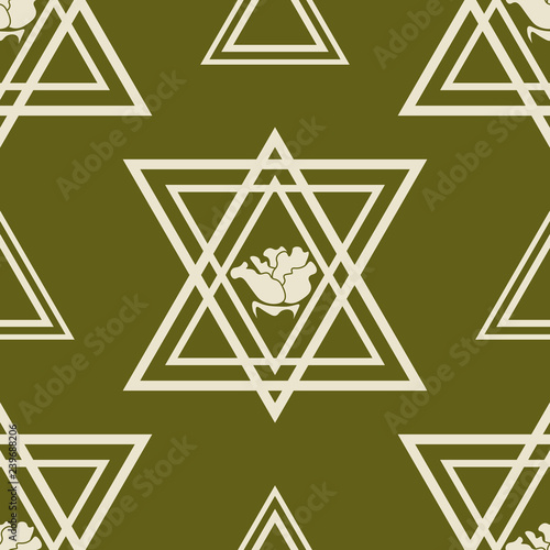obraz lub plakat triangle and rose seamless geometric abstract pattern