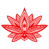 Vector lotus flower. Red and pink isolated on white background. Ethnic oriental ornament