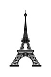 Vector illustration of Eiffel Tower symbol of Paris, France. Black silhouette isolated on white background © Anna