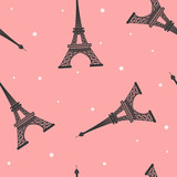 Seamless vector pattern of Eiffel Tower  silhouette on pink background