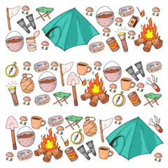 Camping, hiking, scouts. Vector set of doodle icons. Adventure at forest and nature with compass, tent, tincans. Pattern with travel elements.