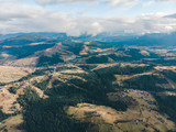 aerial view of carpathian mountains with overcast sky